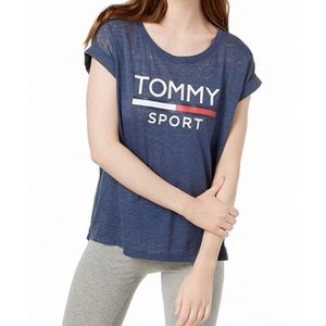 TOMMY HILFIGER Womens Royal Blue Tommy Sport Top